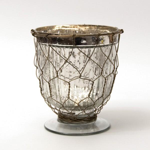 "Pokal ""Ninove"" mit Drahtgeflecht, klar/silber, H 13 cm, Ø 10 cm"
