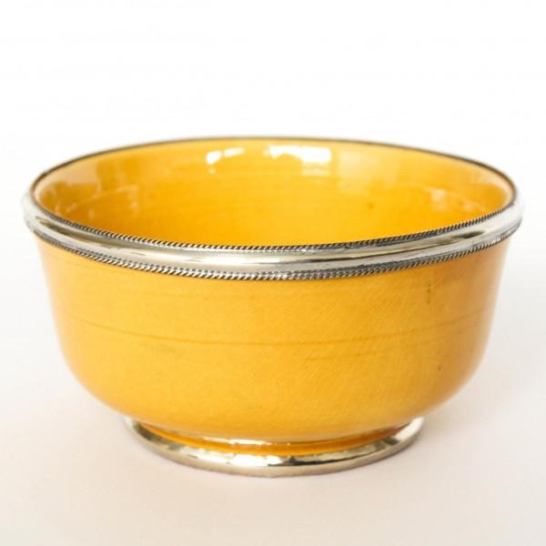 Keramikschale mit Metallverzierung, gelb, H 6 cm, Ø 12,5 cm