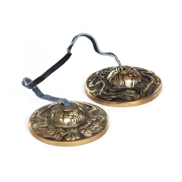 Zimbel Drache, bronze, T 6 cm, B 6 cm, H 2 cm