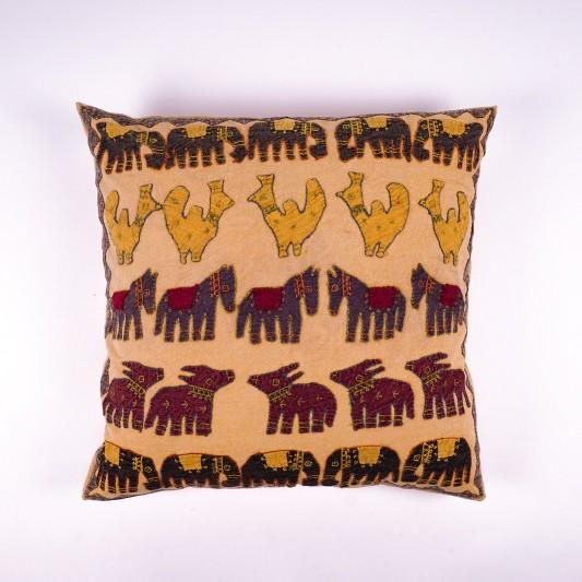 """Kissenhülle """"Elefant saffron"""", beige/gelb, L 60 cm, B 60 cm"""
