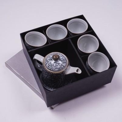 """Chinesisches Teeservice """"Strauch"""", 5 Tassen & Teekanne, blau/weiß"""