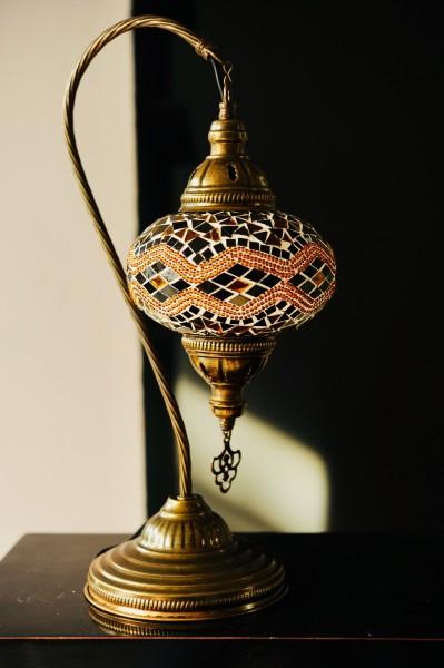 Mosaiklampe Schwanenhals 'Kilim', braun, T 25 cm, B 25 cm, H 46 cm