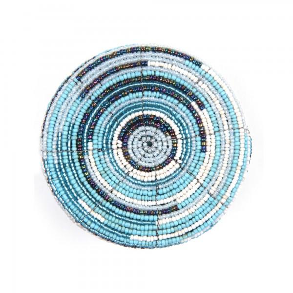 Deckelbehälter aus Glasperlen, blau/weiß, Ø 10 cm, H 10 cm