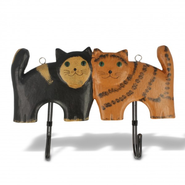 """Wandhänger """"2 Katzen"""", braun/schwarz, B 22 cm, H 13 cm"""