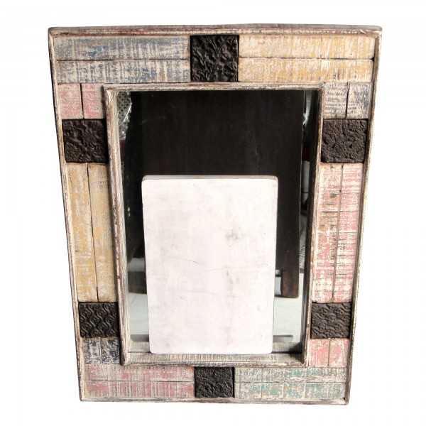 Spiegelrahmen aus Holz, multicolor, B 45 cm, H 60 cm