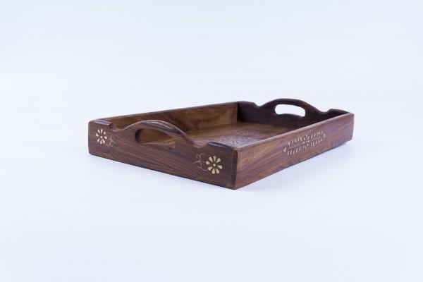 Holztablett mit Messingintarsien, braun, L 28 cm, B 40 cm