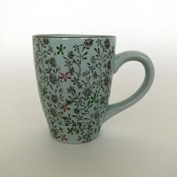 """Tasse Gordes """"Rote Blüte"""", weiß/braun/rot, H 12 cm, Ø 9,5 cm"""