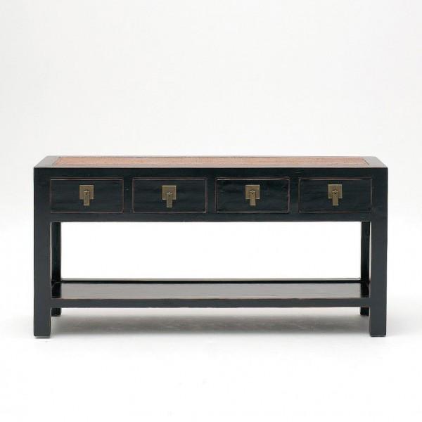 Anrichte mit 4 Schubladen, schwarz, H 61 cm, B 125 cm, T 36 cm