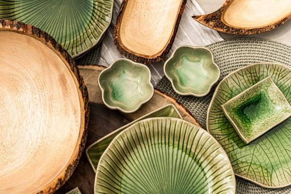 Teller 'Lotusblatt', grün, Ø 19 cm