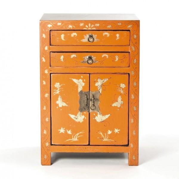 Kleine Kommode, orange, H 61 cm, B 40 cm, T 32 cm