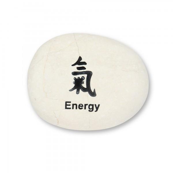 Flusskieselstein 'Energy', weiß, T 8 cm, B 8 cm