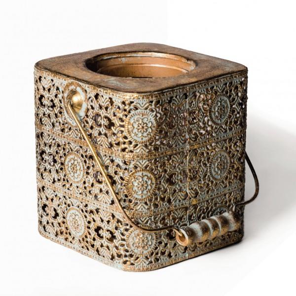 "Laterne ""Hobard"", antik-gold, L 15 cm, B 15 cm, H 14 cm"