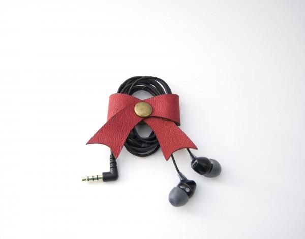 Leder-Kabelschleife, rot, T 5 cm, B 5 cm