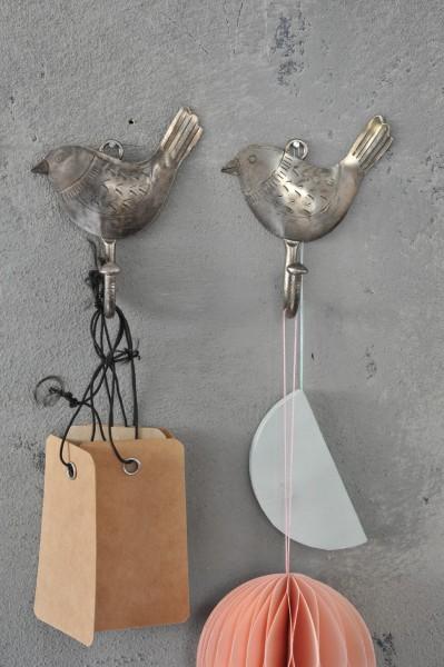 Wandhaken 'Oiseau' aus Metall, vernickelt, B 8 cm, H 8 cm