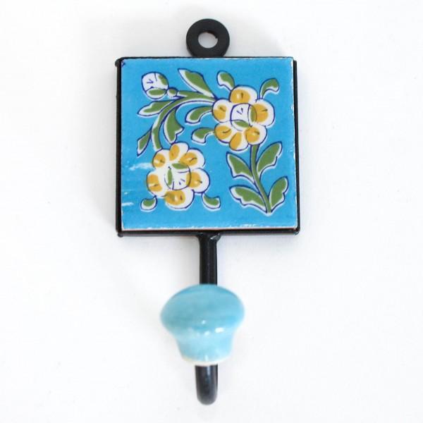 """Wandhaken mit Fliese """"Blume"""", blau, B 5,5 cm, H 10,5 cm"""