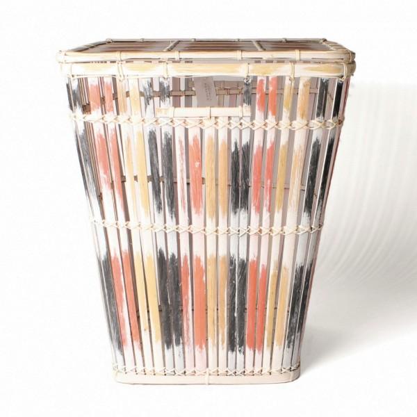 Wäschekorb aus Bambus mit Deckel M, natur/schwarz/rot, L 37 cm, B 37 cm, H 45 cm