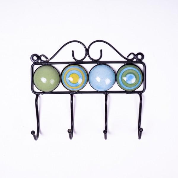 Wandhaken 4fach, grün/blau/gelb, L 4,5 cm, B 18,5 cm, H 15 cm