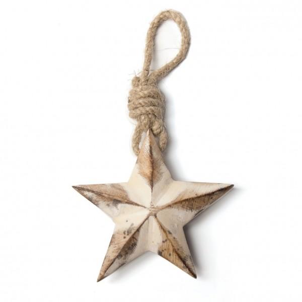 """Baumanhänger """"Stern"""" aus Holz, braun/weiß, B 10 cm, H 10 cm"""