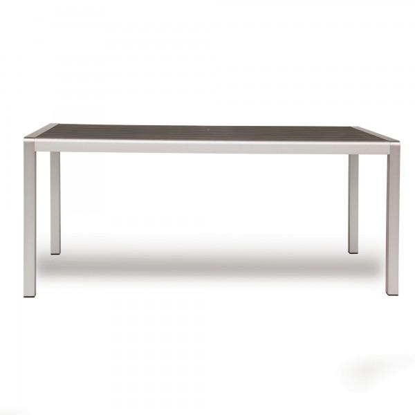 Alu-Tisch 'Theben', aluminium, grau, T 90 cm, B 180 cm, H 76 cm