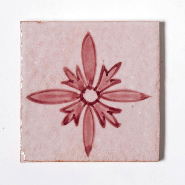 "Fliese ""lis violet"", rot/weiß, L 10 cm, B 10 cm, H 1cm"