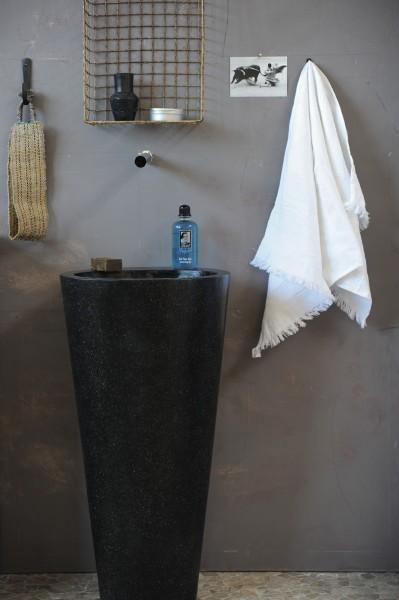 Waschbecken 'Terrazzo' stehend, schwarz, T 46 cm, B 46 cm, H 90 cm