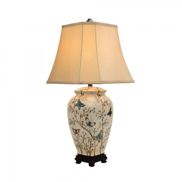 Keramikleuchte 'Dazu', multicolor, Schirm weiß, H 64 cm