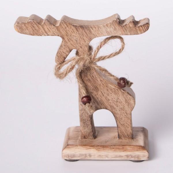Elch aus Holz M, braun, B 15 cm, H 16 cm
