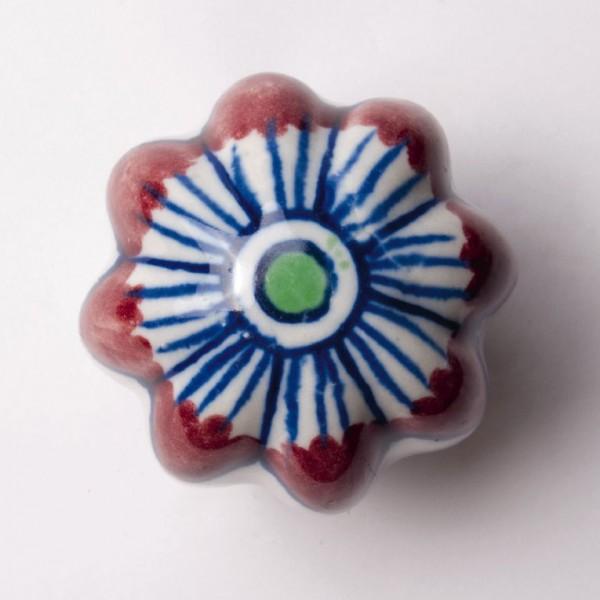 "Türknauf ""Blume"", rot/blau, Ø 5,5 cm"