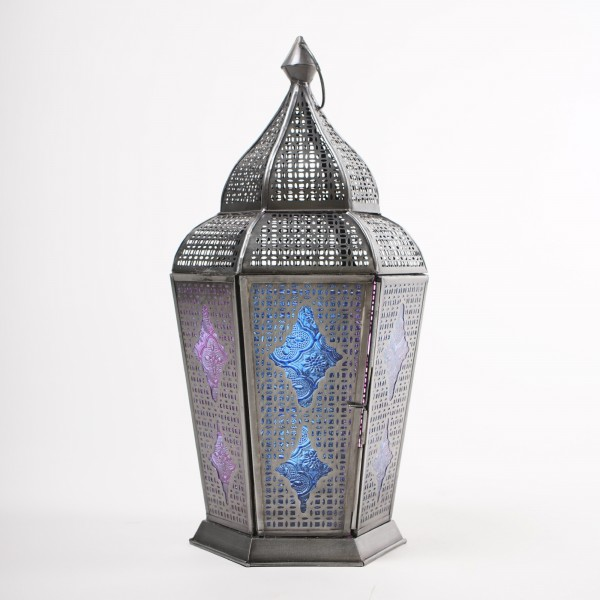 "Laterne ""Zoualet"", silber/blau, Ø 20 cm, H 34 cm"