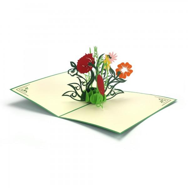 Pop Up Karte 'Blumen', bunt, T 18 cm, B 13 cm