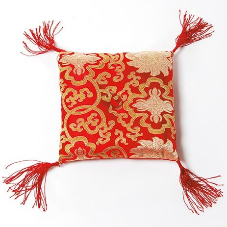 Klangschalenkissen, rot/gold, L 20 cm, B 20 cm, H 5 cm