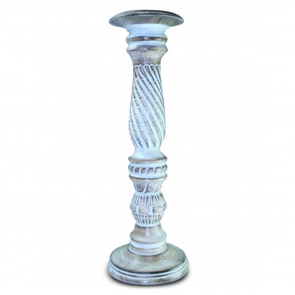 Kerzenständer, braun/weiß, H 46 cm, Ø 15 cm