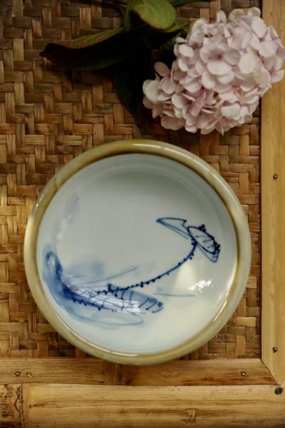 Keramikschale, weiß, blau, Ø 18 cm, H 7 cm