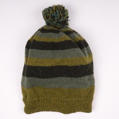 Wollmütze grün/schwarz, handgestrickt in Nepal
