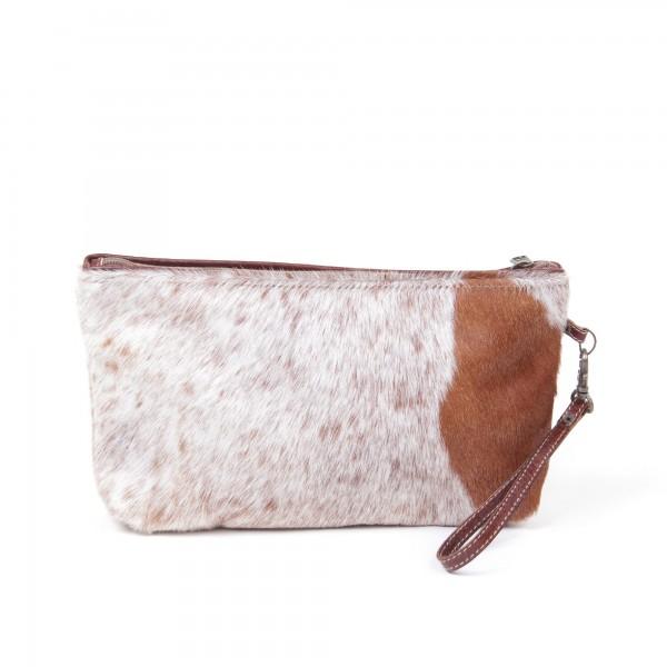 """Kulturtasche """"Gepard"""", weiß/braun, aus Leder, B 29 cm, H 18 cm"""