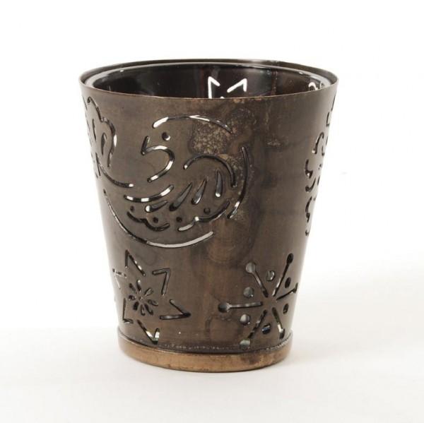 """Teelichthalter """"Blume"""" aus Metall, antik-braun, H 9 cm, Ø 8 cm"""