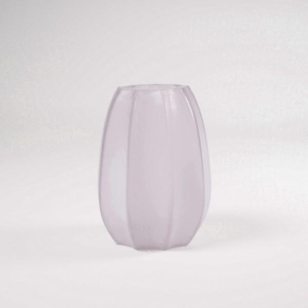 Glasvase gefrostet, weiß/rosa, Ø 18 cm, H 23 cm