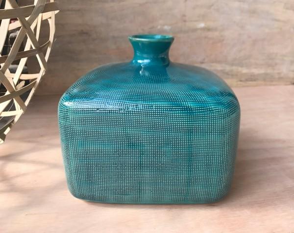 Vase 'Aquila', blau, L 20 cm, B 20 cm, H 18 cm