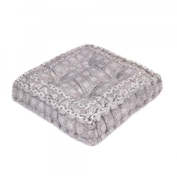 "Sitzkissen ""Bhoora"", grau/weiß, L 50 cm, B 50 cm, H 8 cm"