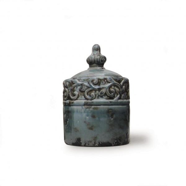 """Deckelvase """"Blois"""", blau/grau, Ø 17 cm, H 25 cm"""