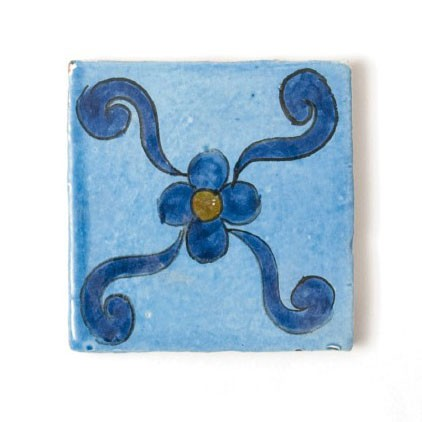 handglasierte Kachel 'bleue majorelle', blau, L 10 cm, B 10 cm, H 1cm