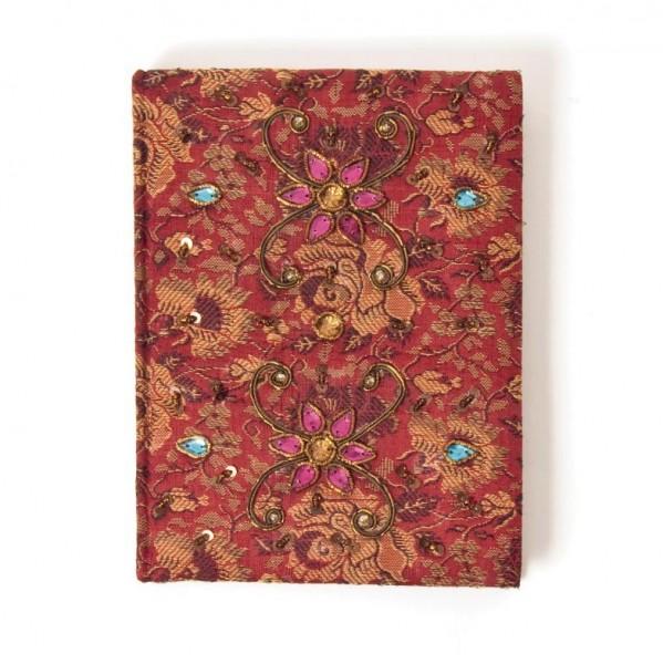 Tagebuch handbestickt und mit Glasperlen verziert, rot, B 13 cm, H 18 cm