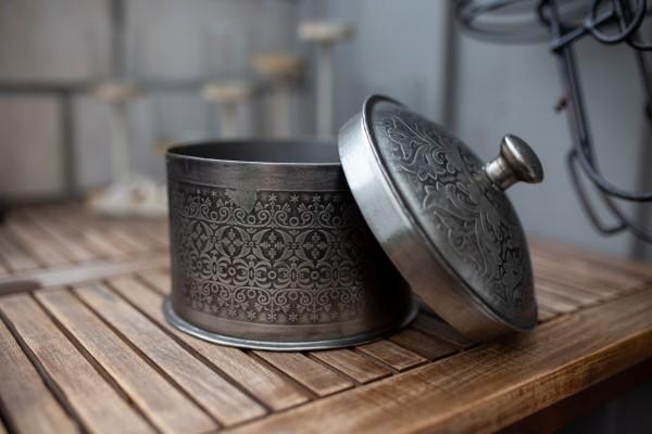 Metallschatulle rund, vernickelt, silber, H 15 cm, Ø 17 cm