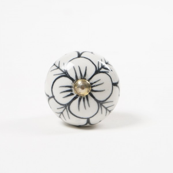 Türknauf rund, weiß/schwarz, Ø 4 cm