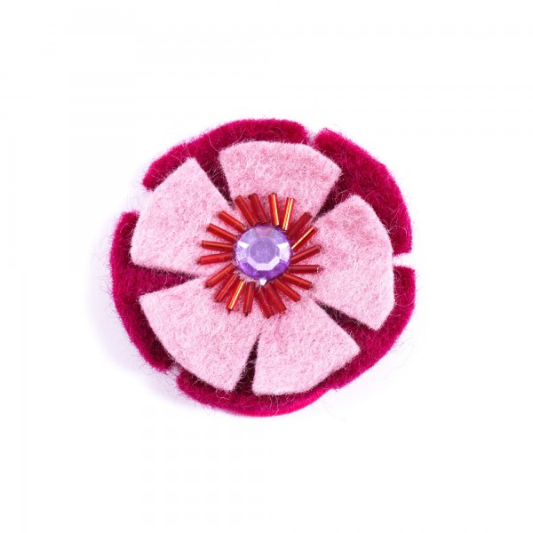 "Haarband ""Blumenrad"", handgefilzt, rot/rosa"