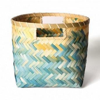 Wäschekorb aus Bambus S, natur/türkis, Ø 27 cm, H 22 cm