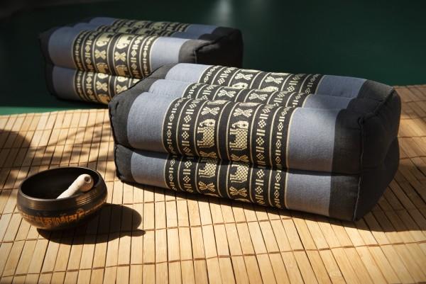 Yogakissen, schwarz, grau, T 17 cm, B 15 cm, H 35 cm