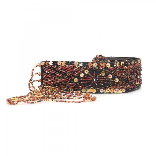 Gürtel Pailletten, rot, gold, T 85 cm, B 5 cm