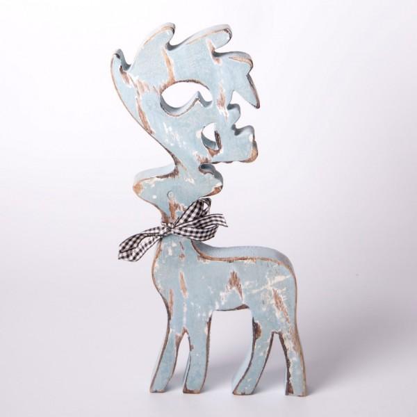 """Rentier """"Schönthal"""" aus Holz, eisblau, B 12 cm, H 30 cm"""