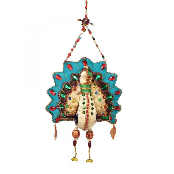 Pfauen-Paar hängend, multicolor, T 11 cm, B 9 cm, H 3,2 cm
